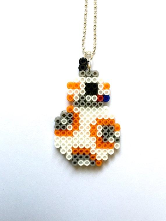 bb 8 perler bead necklace perler bead pixel jewelry