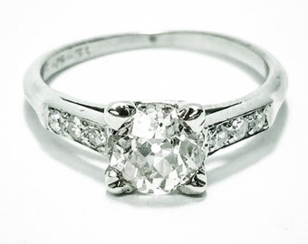 Vintage 1930s White Gold European Cut Diamond Engagement Ring with Engraving