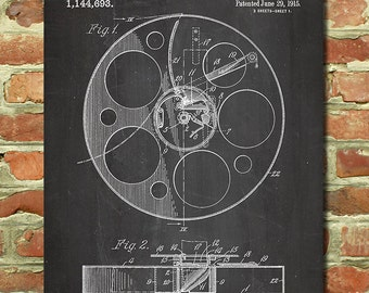 Vintage Movie Poster Gift Movie Decor Home Theater Art Decor Vintage Film Poster Film Gift for Film Buff Gift, Patent, Film Reel Poster P089