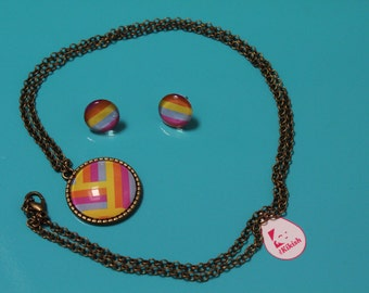 Gemstone earrings and necklace-colorful striped pattern