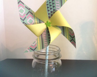 Pinwheels, Party Pinwheels, Paper Pinwheels, Party Decorations, Party Favors, Yellow Party Pinwheels, Green Party Pinwheels, Photo Props