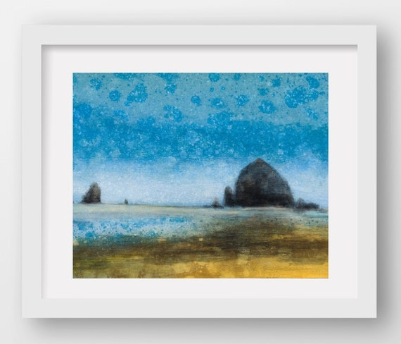 CANNON BEACH BLUE, limited edition giclee art print, Haystack Rock, Cannon Beach, Oregon Coast art, coastal art