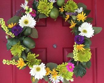 Summertime, colorful,  door wreath