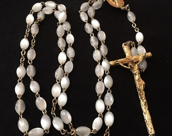 Vintage white glass bead rosary with gold tone chain and Crucifix Made in Italy