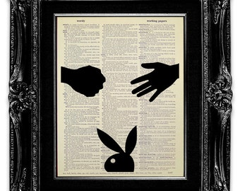 FUNNY Gift for Man Him Friend, GAG Gift for Man, DICTIONARY Art Print, Dictionary Print, Silhouette Art, Rock Paper Scissors Playboy Poster
