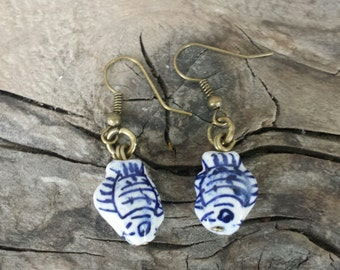 Dutch, fish, earrings, Delftblue, Holland, Netherlands, souvenir, gift