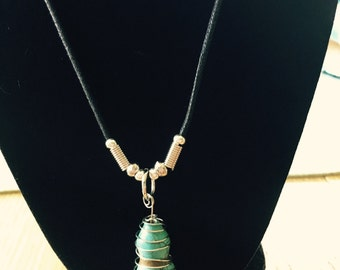 Hand-wrapped turquoise necklace