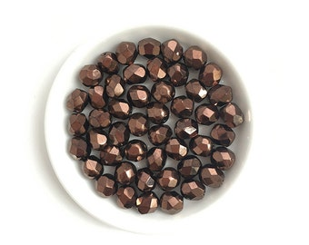 50pc 6mm Czech Faceted Round Fire Polished Bronze #1183A