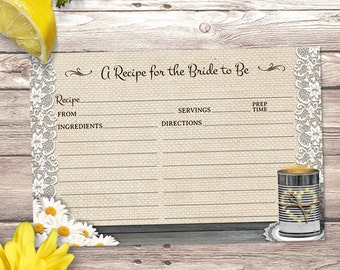 "Printable Rustic Tin Can Burlap and Lace Daisy Bridal Wedding Shower Recipe Card, 6""x4"", JPG Instant Download"