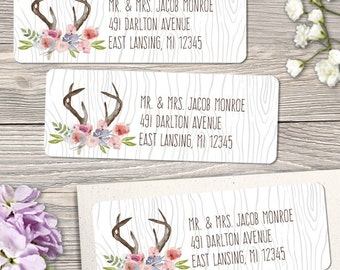 """Printable Rustic Antlers Watercolor Wildflowers Faux Bois Address Labels, Personalized 2 5/8"""" x 1"""" Labels, Editable PDF, Instant Download"""
