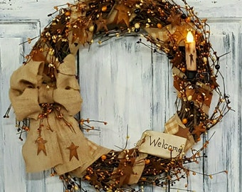"18"" Primitive Country Wreath with tag and candle"