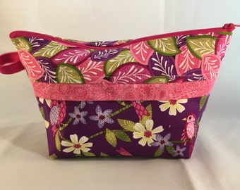 Sock Wedge Zippered Bag, Project Bag for Knitting, Cosmetic, Make-up, Travel Organizer, Yarn Tote - Paisley Pink Floral Birds Pink Zipper
