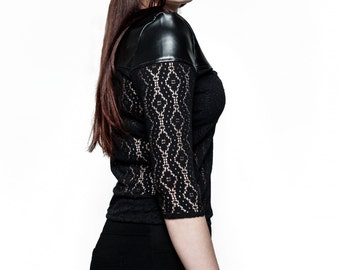 Black pvc and lace knit top - gothic blouse - dark elegant top - Leatherette top