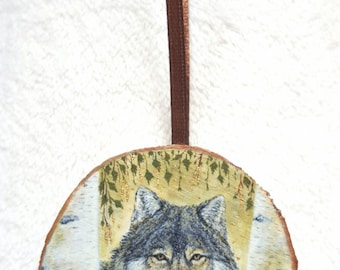 Miniature painting with gold leaf - Wolf