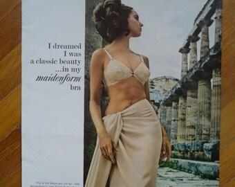 Vintage 1960s bra advertisement - Vintage advertising - Paper Ephemera - Old advertisement - Sexy advertising Retro advertising Pinup retro