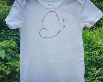 Hand Embroidered Butterfly Onesie