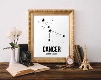 Cancer Zodiac Wall Art, Printable Cancer Wall Art, Printable Home Decor, Zodiac Art, Cancer Birthday Gift, June Birthday, July Birthday
