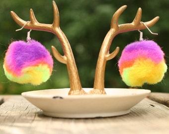 neon tie dye pom pom earrings