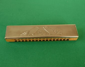 Vintage Harmonica. Made In USSR. Children Musical Instrument.  Wooden Harmonica. Metal Harmonica. Soviet toy.  Gift for collector.