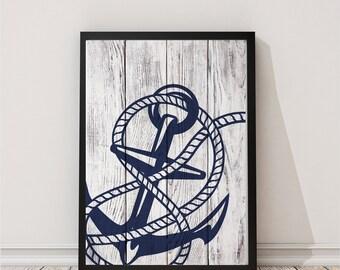 Nautical Print Anchor Print Compass Print  Nautical Print Beach House Decor Watercolor Prints Nursery Prints