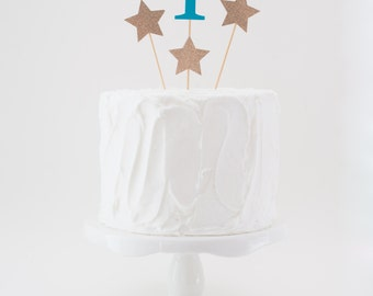 Numbered Cake Topper with Star Topper Accent