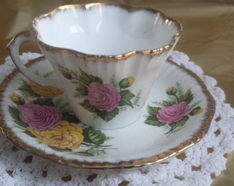 Vintage Imperial Bone China Pink and Yellow Rose Cup and Saucer