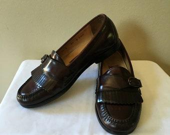 Vintage Cole Haan Men's Burgundy Leather Round Toe Kiltie Buckle Slip On Loafers Size 8.5 D