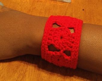 Red Crocheted Cuff Bracelet