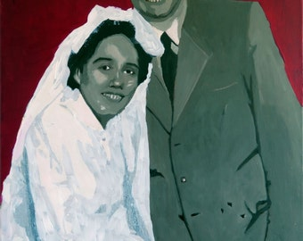 "Custom protrait.Original custom art painting.Anniversary gift.Mementos wedding gift.Personalized Wedding Gift.retro.Wedding protrait.12""x16"""