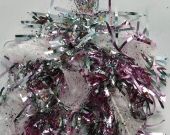 3-D Abstract Fashion Illustration:Made to Order;Custom;Feathers,Confetti Grass, Glitter