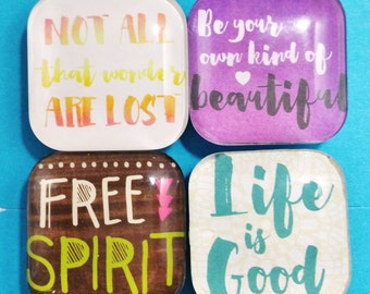 Set of 4 Inspirational Quotes Glass Refrigerator Magnets