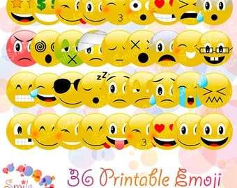 Kawaii Emoji Digital Clip art Smiley Face Clipart Emoticon Smile Birthday Party Cute Emoji Stickers Printable Digital Collage Sheet