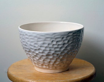 Large White Bowl, Mixing Bowl, Pottery Bowl, Hand Made, Fruit Bowl, 'Champney Bowl' Wheel Thrown Pottery