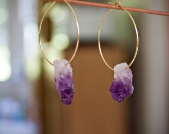 Amethyst Earrings, February Birthstone, Boho Jewelry, Crystal Earrings, Gifts for her, Boho Earrings, Druzy Earrings, Bridesmaid Earrings