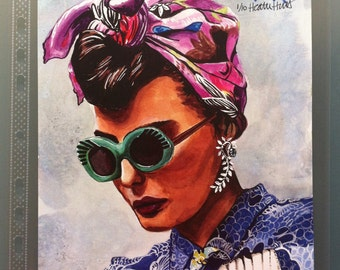 Gypsy with Sunglasses, original watercolor painting PRINT