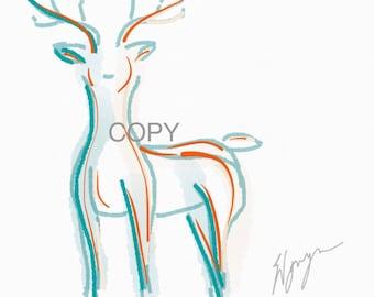 Deer, canadian wildlife, printable art, instant download, digital download