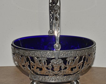 Antique Silver Basket Winged Serpents Fruit Baskets Cobalt Glass Liner