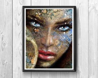 woman's face with blue eyes made of mixed media paintings