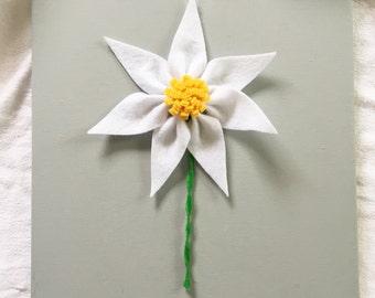 3D Felt Flower with Stem on 12x12 Canvas
