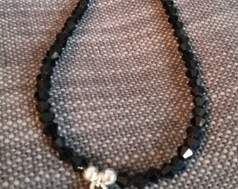 delicate black crystal necklace with little tibetan silver heart dropper