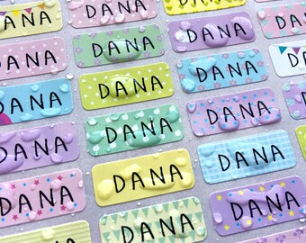 144 Waterproof Name Stickers- Daycare Labels- Pastel Pattern Print Kids labels- Small Size- Customized Labels- Multicolor Stickers