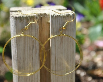 gold, hoops, lightweight, wire