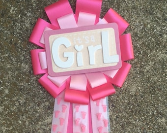 Pink Footprint Its A Girl Corsage, Mommy To Be Pin, Baby Shower Mum,