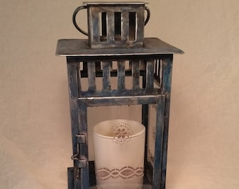 Vintage Blue Lantern with Silver Accents. Hand Painted Gift