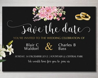 Save the Date Cards, Custom made, Digital Print, Printable Cards