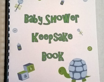Binded Baby Shower Boy Turtle Keepsake Book with photo slots