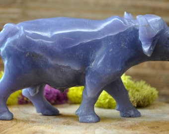 Natural Lepidolite Ox Sculpture  - Stone Animal Figurine-  1279.10