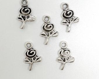 5 Tibetan Silver Flower Charms
