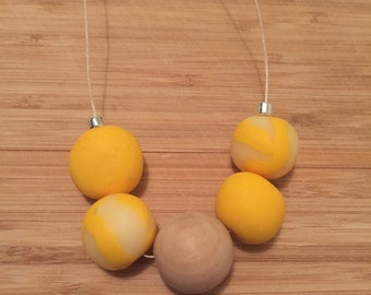 Sunshine Yellow Polymer Clay & Wood Necklace