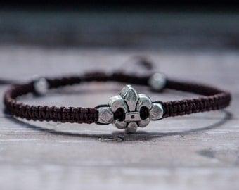 Silver Fleur de Lis Adjustable Bracelet